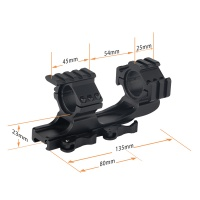 25.4mm/30mm Dual Ring Quick Release Cantilever Mount Forward Reach with Tri Picatinny Rail