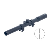 4X15 Rifle Scope Black Fine Duplex Gloss Reticle with Rings
