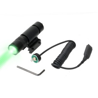 Outdoor Hunting tactical metal flashlight rat tail touch switch GREEN LED light fit 20mm Weaver /11mm rail BK