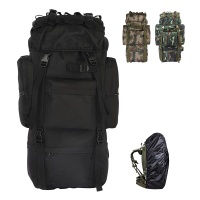 Tactical camping backpack 65L large capacity mountaineering backpack Oxford backpack BK